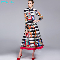 New Fashion Runway 2017 Autumn Women 2 Piece Set Black Vintage Print Long Sleeves Shirt Elegant