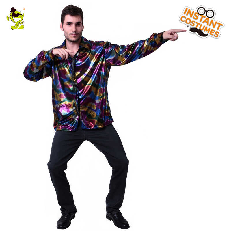 228a149e Men's 80's Disco Costume Party Masquerade Popular Club Disco Clothing Fancy  Dress Shirt Cosplay Disco Dance