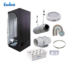 Hydropoinics Complete indoor grow tent kits 60x60x140cm  with DWC bucket,  LED grow light and ventilation equipment.