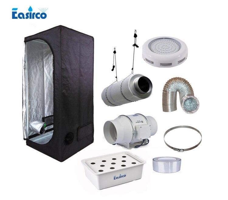 Hydropoinics Completo indoor crescere kit tenda 60x60x140 cm con DWC secchio, LED coltivano la luce e apparecchiature di ventilazione.