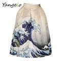 Women Retro Blue Waves Digital Printing Zipper Tutu Skirts