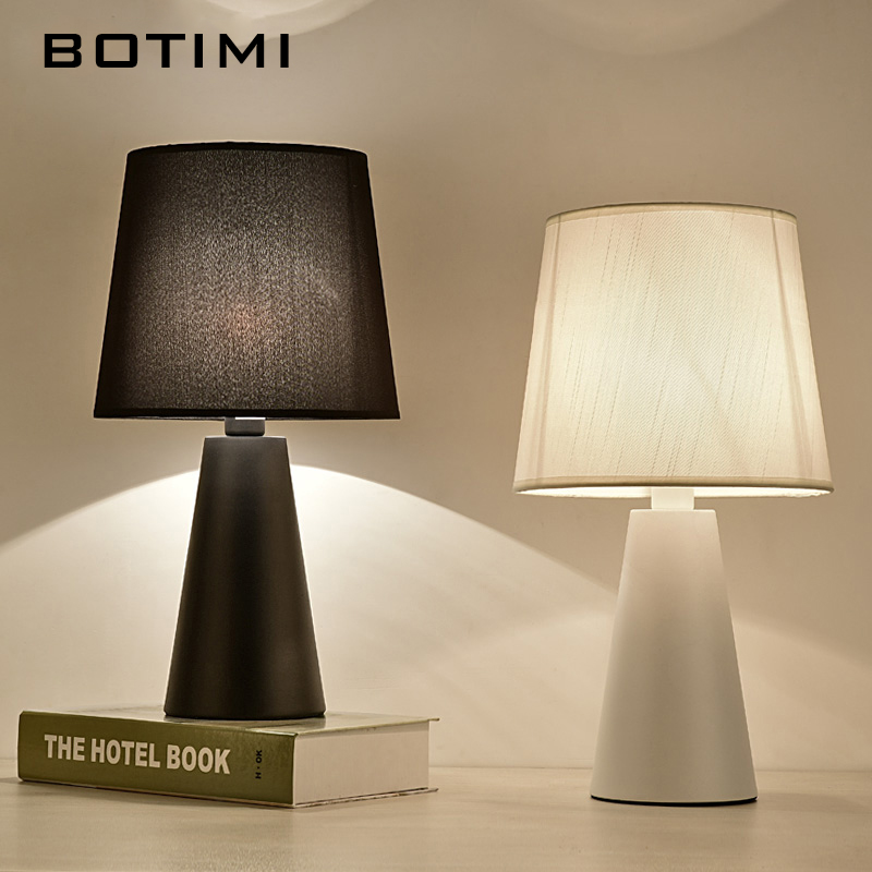 BOTIMI Modern Table Lamp With Fabric Lampshade LED Lamparas de mesa Metal Desk Light E27 Hotel Lighting Deco Luminaria de mesa trazos modern table lamp color iron lampshade led lamparas de mesa metal desk light e27 hotel lighting deco luminaria de mesa