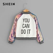SHEIN/Детская куртка для девочек с рукавом реглан с блестками и надписью на молнии; пальто; детская одежда; коллекция года; Весенняя Повседневная куртка для детей