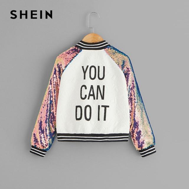 SHEIN Kiddie/куртка на молнии с рукавами реглан и блестками для девочек с надписью детская одежда 2019 г. Весенняя Повседневная куртка для детей