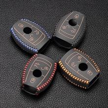 Купить с кэшбэком Leather Key Cover Case Shell For Mercedes Benz W203 W204 W211 CLK C180 E200 AMG C E S Class Keyrings Holders Car Accessories