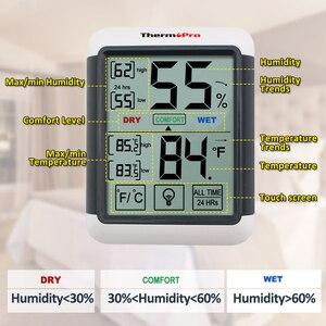 Image 4 - Thermopro TP55 dijital hava İstasyonu higrometre kapalı termometre dokunmatik ekran ve arka işık nem termometre