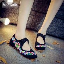 Veowalk bahar el yapımı kadın ayakkabı çin tarzı rahat bale daireler kadınlar için çiçek işlemeli ayakkabı zapatos mujer