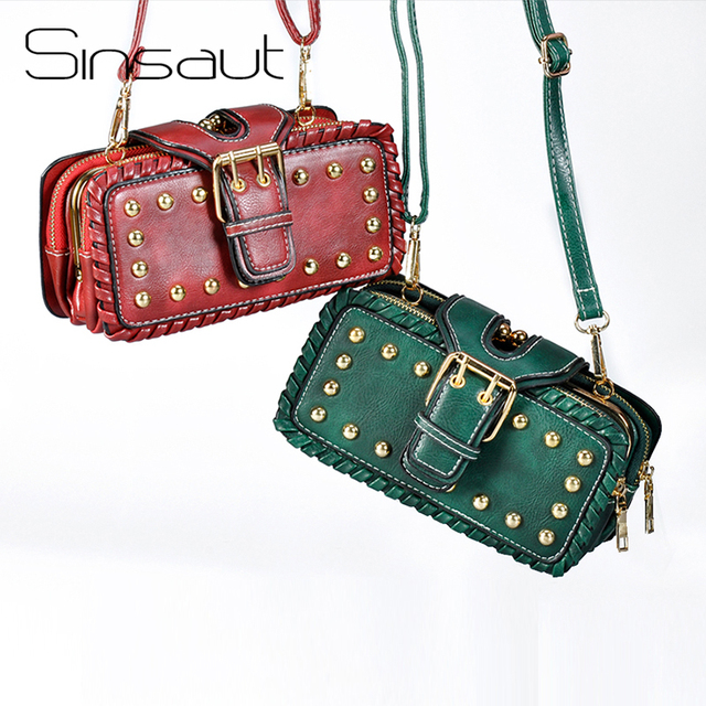 Sinsaut Women Shoulder Bags Trendy Crossbody Bags Women Messenger Bags Small Package Multi-layer Luxury Rivets Bags