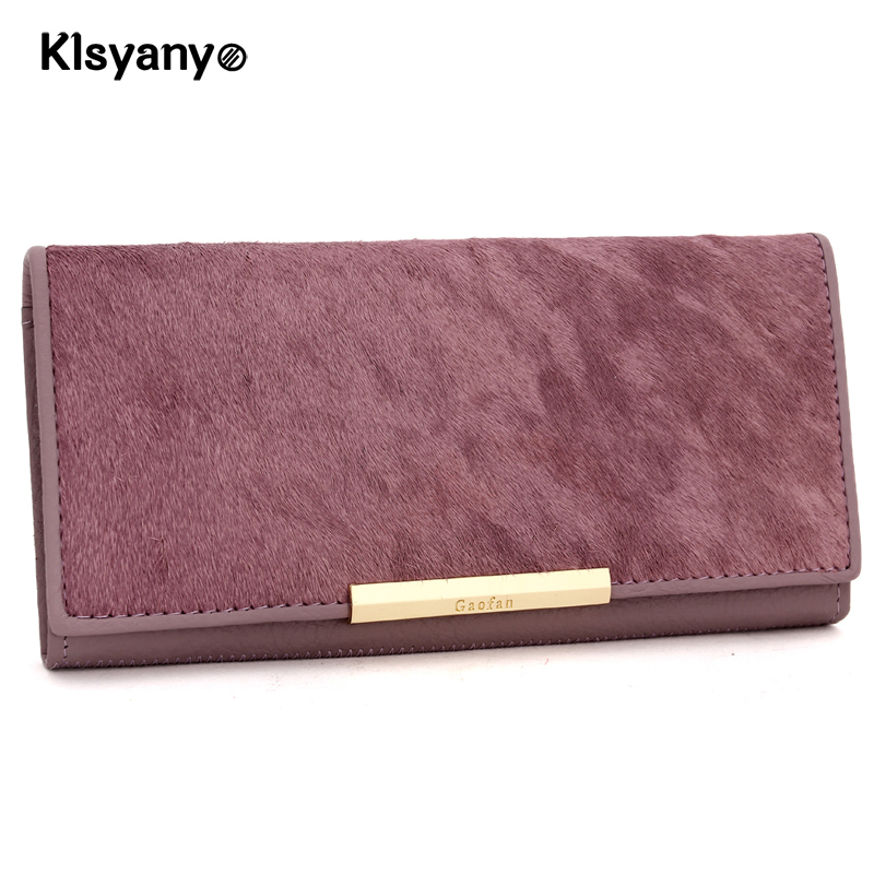 Klsyanyo Genuine Leather Women Hasp Zipper Long Wallet Ladies Fashion Clutch Bag Coin Pocket Card Holder Girl Carteira Cuzdan