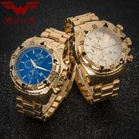 JAPAN Bewegung Gold Uhren männer Relogios Subaqua Masculino Armbanduhr Luxus Marke Quarzuhr (Farbe: Gold  blau) WOLF CUB-in Quarz-Uhren aus Uhren bei