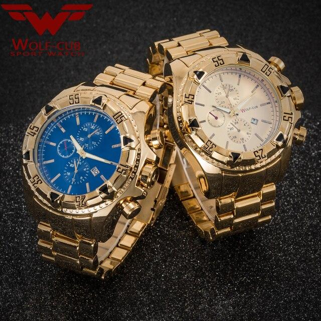 יפן תנועת זהב שעונים גברים של Relogios Subaqua Masculino שעוני יד יוקרה מותג קוורץ שעון (צבע: זהב, כחול) זאב קאב