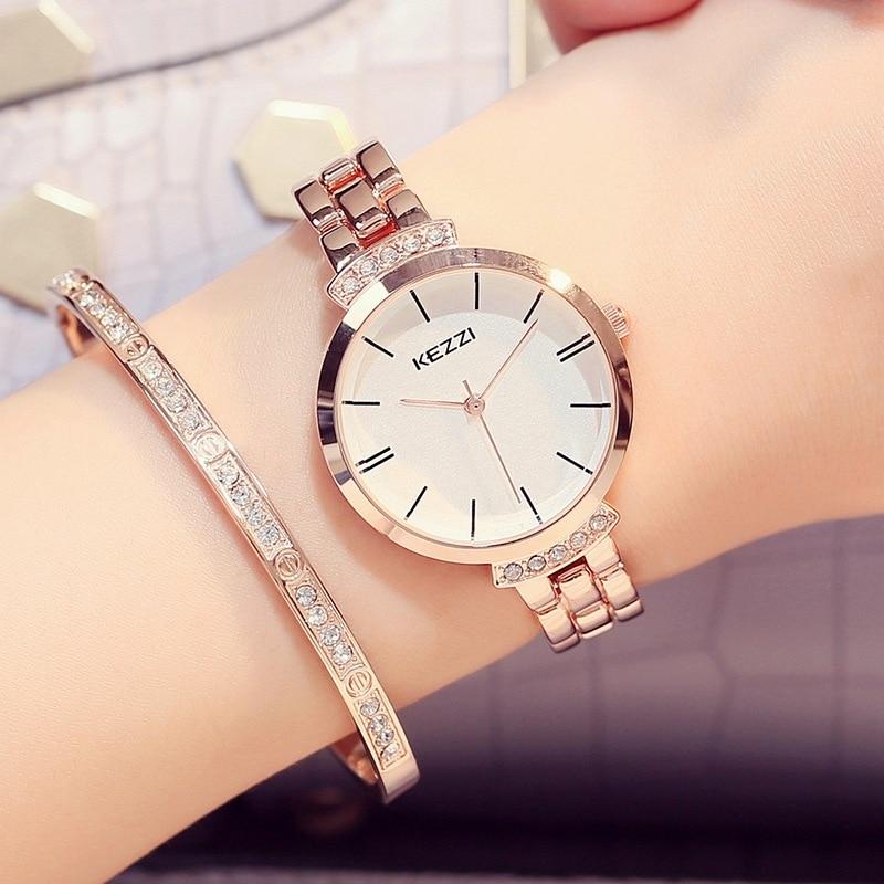 Kezzi Women Watches Casual Quartz Wristwatches Stainless Steel Watch Rhinestone Bracelet Watch Relogio Feminino Reloje Mujer
