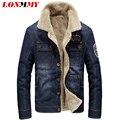 LONMMY M-4XL 2016 Jeans Invierno chaqueta de los hombres escudo Casual Slim fit abrigos vaqueros de los hombres 2016 hombre chaqueta de Mezclilla de terciopelo de Terciopelo de cuello de Solapa