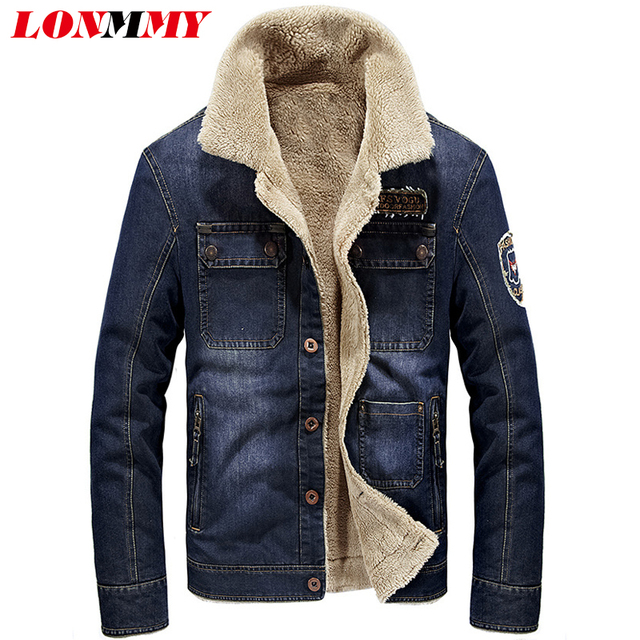83f66efade US $52.92  LONMMY M 4XL 2018 di Inverno giacca di Jeans da uomo cappotto  Casual Slim fit cowboy cappotti degli uomini 2018 giacca di Jeans di  velluto ...