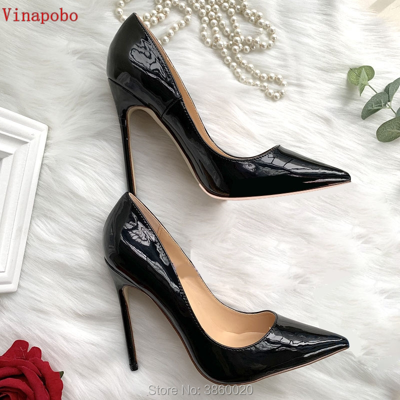 2019 Spring Fashion Woman Shoes Pointed Stiletto Heels Shallow Mouth High Heels Black Patent Leather Summer Pumps Shoes Mujer