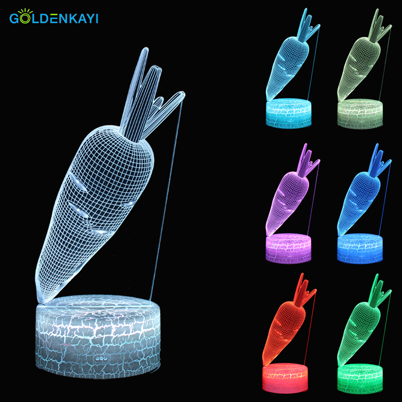 Carrot 3D LED Originality Night Lights Atmosphere Table Lamp Visual RGB Bulb Colorful LED Light Cartoon Decor Lamp Gift LED Night Lights    - title=