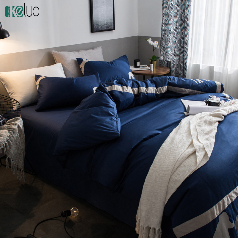 KELUO European Embroidery Blue Elephant Bedding Set Duvet Cover Set 100% Cotton Bed Set With Flat SheetKELUO European Embroidery Blue Elephant Bedding Set Duvet Cover Set 100% Cotton Bed Set With Flat Sheet