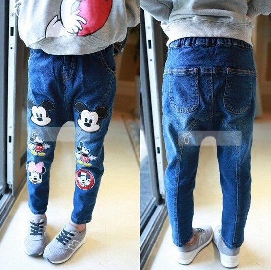Мода прекрасный красивая мультфильм микки минни детей девушка шаровары джинсовые брюки брюки трусики джинсы