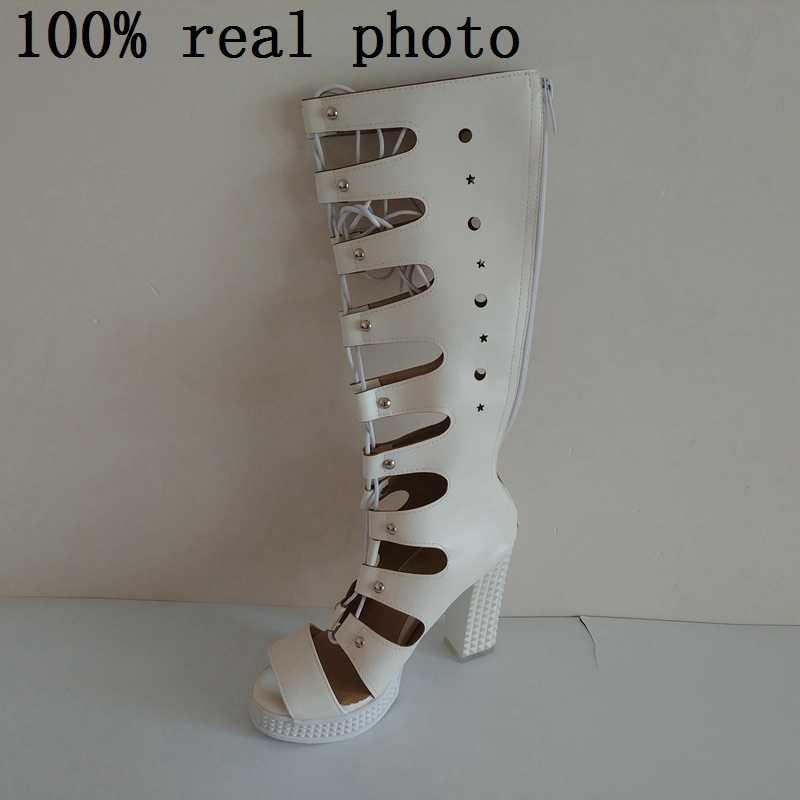 74e9b93e3 ... REAVE CAT/Для женщин летние сапоги на платформе на высоком квадратном  каблуке сандалии на шнуровке ...