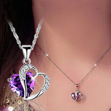 Heart Shape Necklace Class Lady Fashion Pendant Fashionable Copper Style with Women Jewelry