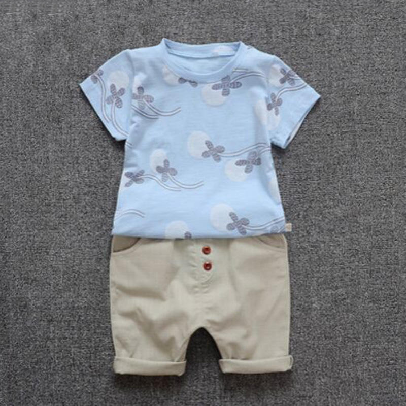 2018 New Summer Children Cothing Boys Baby Set Short Sleeve +Shorts 2 Piece Baby Clothes Tide