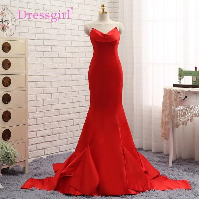 Dressgirl 2017 Formal Celebrity Dresses Sirena V-cuello Barrer de Tren Satén Rojo de Noche Backless Vestidos de Famosos Vestidos de la Alfombra Roja