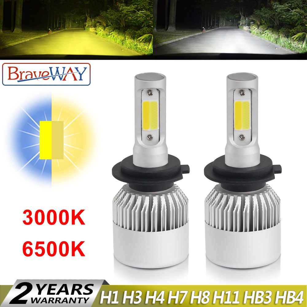 BraveWay 3000K Yellow+6500K White Dual LED Fog Lights for Car H1 H3 H7 H8 H11 HB3 HB4 9006 ice lamp for auto Fog Lamp tumanki
