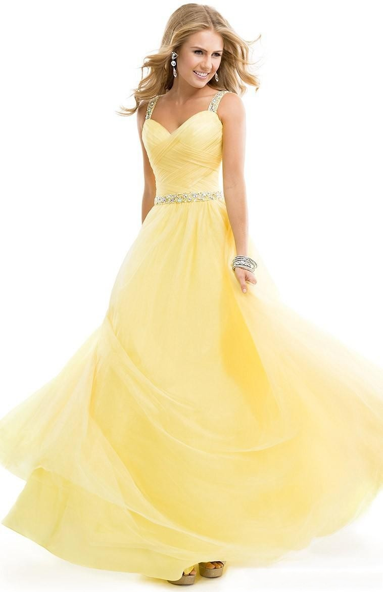 Custom Made Yellow Spaghetti Beaded Sequins Pleated Corset Prom Dresses 2017 Back Hollow Glaring Evening Gowns SS112