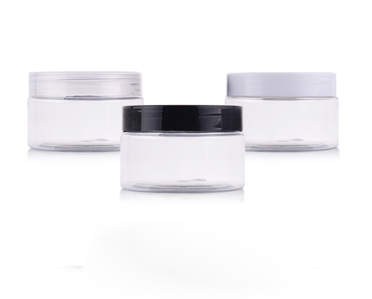 50pcs 100g colored empt round cosmetic cream PET jars with plastic lids clear cream containers for