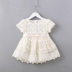 Image 1 - Flores recém nascidos bordado puff manga meninas vestido baptizado festa de aniversário roupas do bebê da criança menina rosa branco 0 2 t