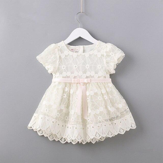 Flores recém nascidos bordado puff manga meninas vestido baptizado festa de aniversário roupas do bebê da criança menina rosa branco 0 2 t
