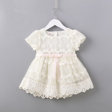 Newborn Flowers Embroidery Puff Sleeve Girls Dress Christening Birthday Party Baby Clothing Toddler Girl Clothes pink white 0 2T