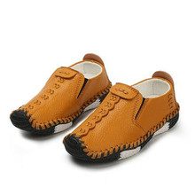 New High Quality Children Leather Shoes Boys Casual Loafers Single Shoes Baby Toddler Flats Breathable Kids Black Shoes 02A цена в Москве и Питере