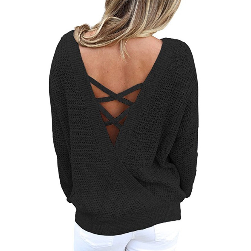 Shown Shirts Longues Top Kintted Pulls Femme as Dos À Nu Bandage Hongmiao Sexy Jumper As Lacent Hoodies 2018 Shown Manches qwAz7ZH
