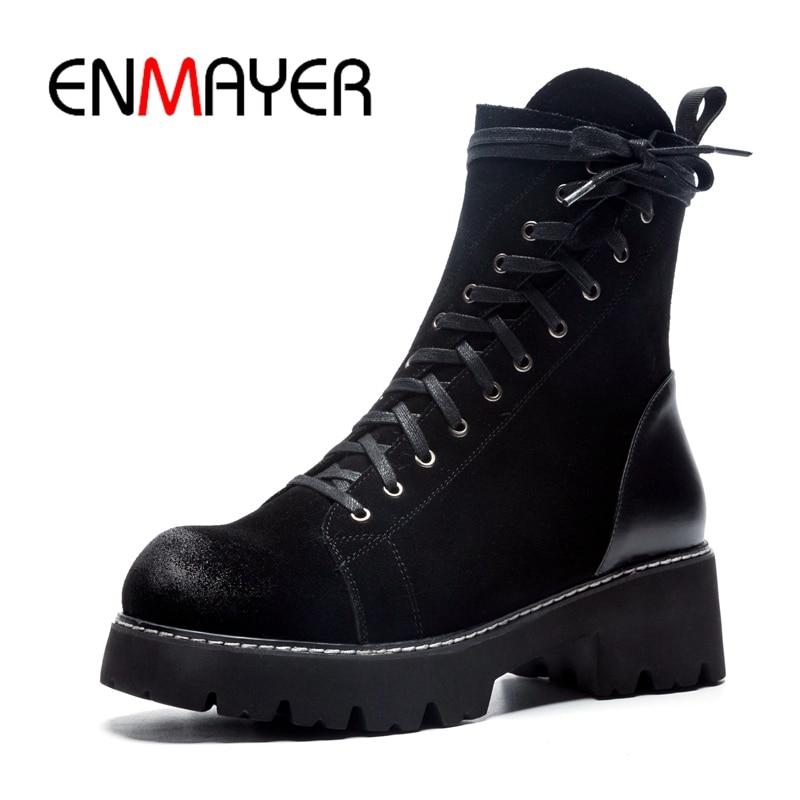 ENMAYER/женские ботильоны, короткие ботинки, женские ботинки на шнуровке, женские ботильоны на платформе с круглым носком, ZYL930