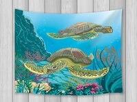الحيوان decot نسيج البحر السلاحف الغوص الكرتون طباعة جدار الفن شنقا لغرفة المعيشة غرفة النوم