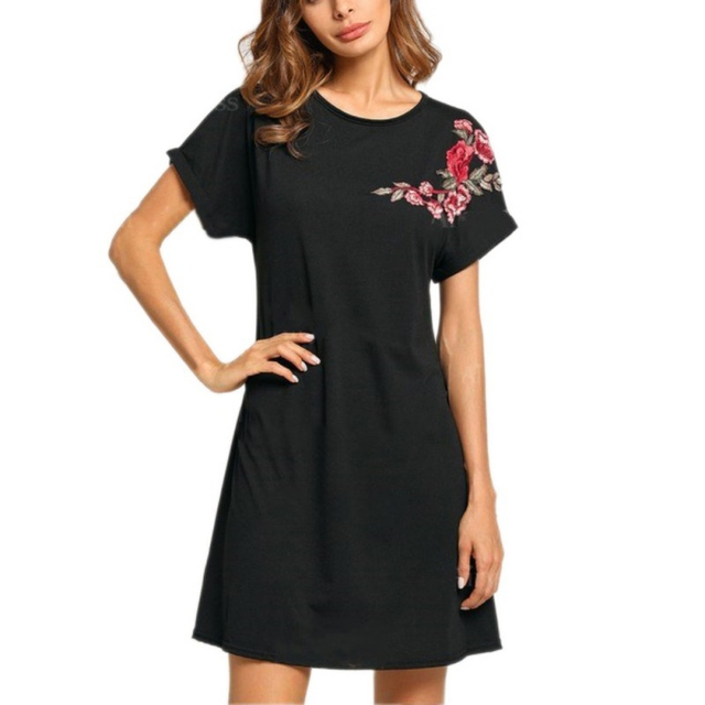 2f9e22248ed4 EFINNY Embroidered Flower Patch Swing Shirts Dress Black High Neck A Line  Long Sleeve Plain Dresses Fall Dresses