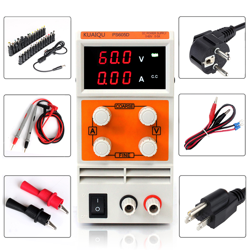 LED Digital PS605D Adjustable Variable Portable DC Switching Power Supply Output 0 60V 0 5A Support AC 110 220V