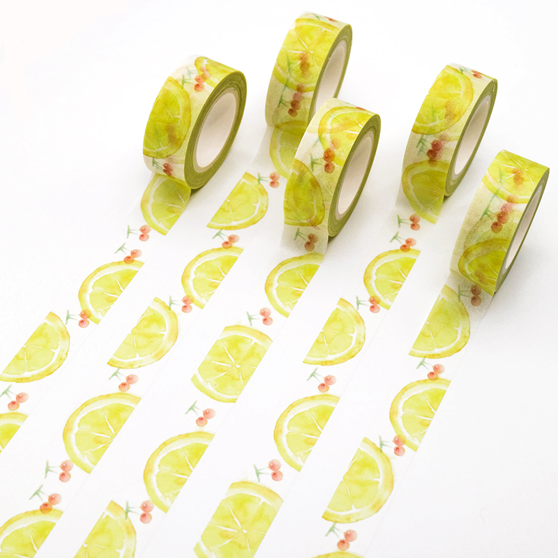 1 PCS Creative Lemon Cherries Washi Tape Adhesive Paper Tape School Office Supplies Decorative Masking Tape Sticker 15mm*10m