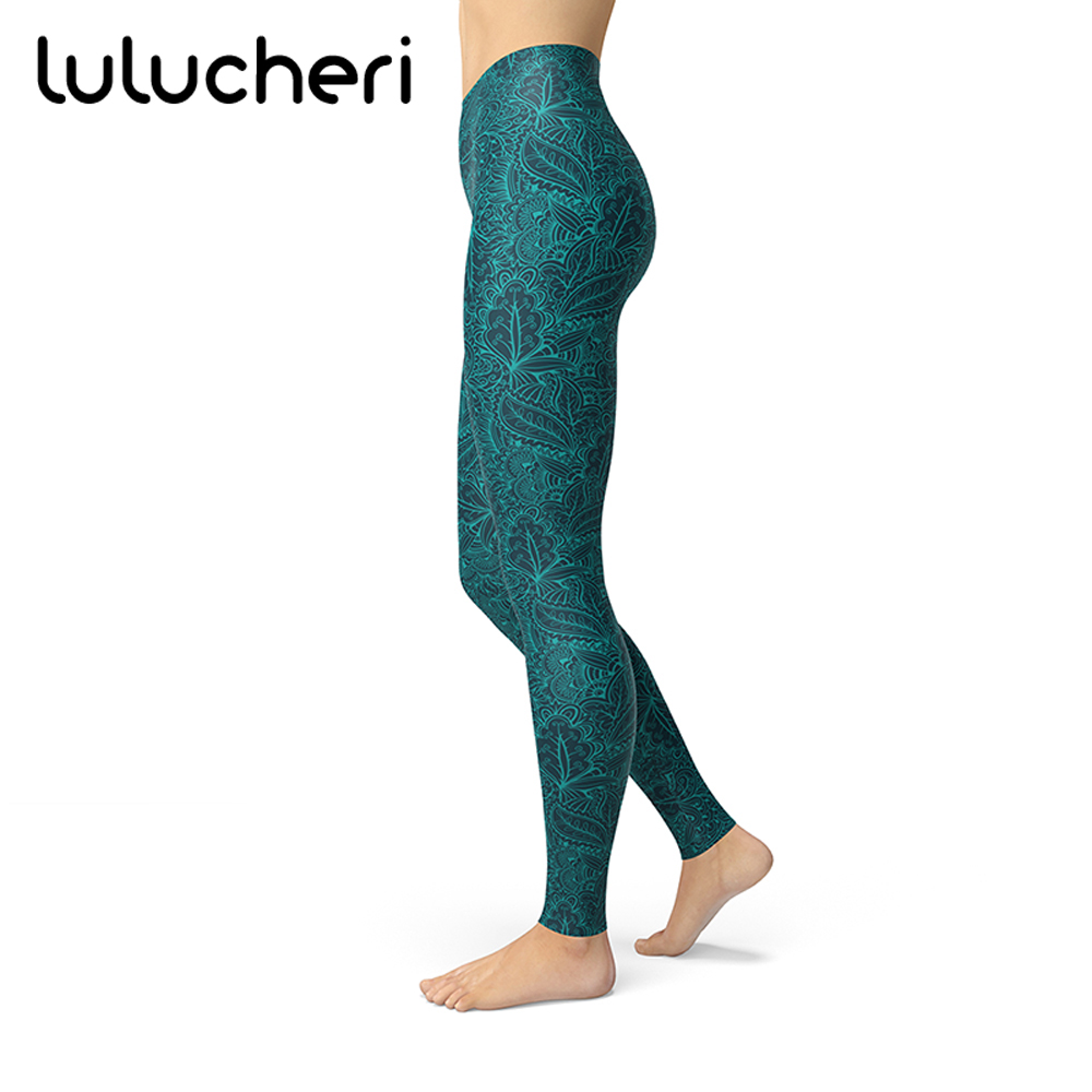 2018 New Women Vintage Floral Pattern Printed Leggings Brushed Buttery Soft Plus Size High Waist Breathable Slim Fitness Leggins