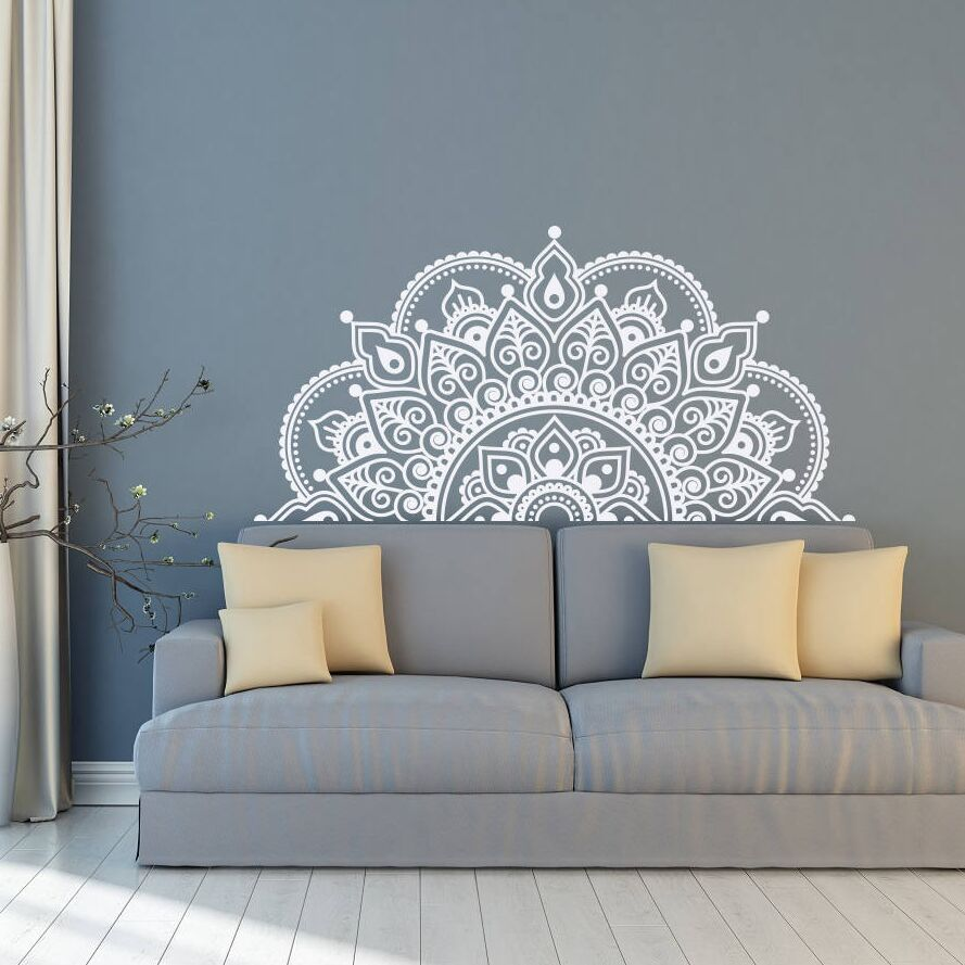 באיכות גבוהה חצי המנדלה קיר מדבקות ויניל חדר שינה בסלון מדבקות Boho מנדלה פרח דקור המנדלה סגנון קיר קיר ZW250