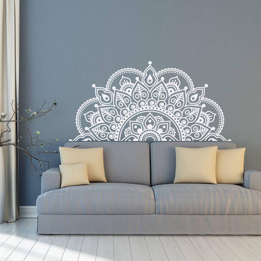 Adesivos de Vinil Alta Qualidade Metade Mandala Mandala Flor Decoração Parede Quarto Sala Decalque Boho Style Mandala Pintura Mural da Parede Zw250