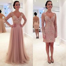 Modest A-Line V Neck Tulle Floor Length Lace Appliques Long Sleeves Evening Dress with Detachable Skirt