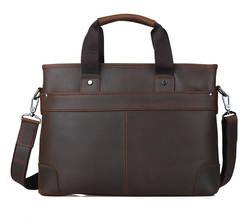 Темно-коричневый кожаный Портфели для Для мужчин Одежда высшего качества Crazy Horse Сумка бренд известный Сумки на плечо TIDING 1106