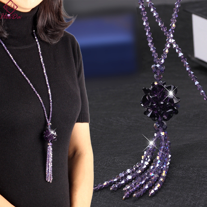 Heeda Korean Crystal Long Necklace Women Fashion Sweater Chain 2018 New Kpop Bead Tassel Layered Bijoux Shiny Party Jewelry Lady щетки стеклоочистителя vk technology green line vt 05614