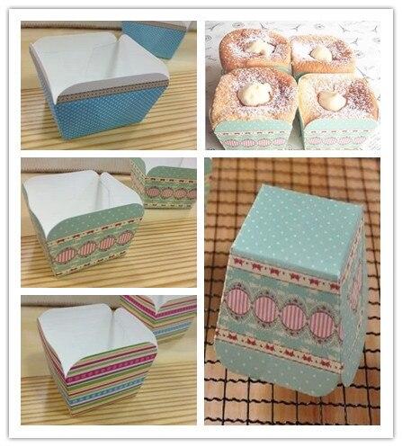1000 pcs hot selling muffin cups Baking British retro Color stripe Classic blue dot lace square