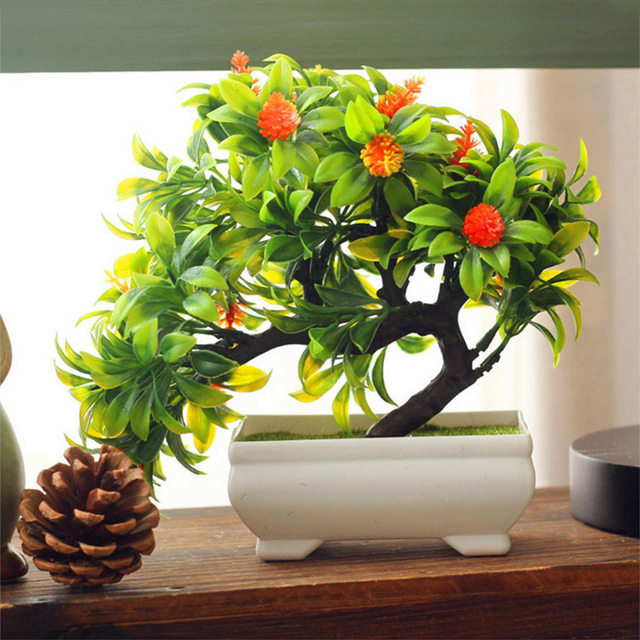 Artificial Plants Mini Bonsai For Office Home Decoration Artificial Plastic  Potted Trees Artificial Pot Flowers Cheap With Vase
