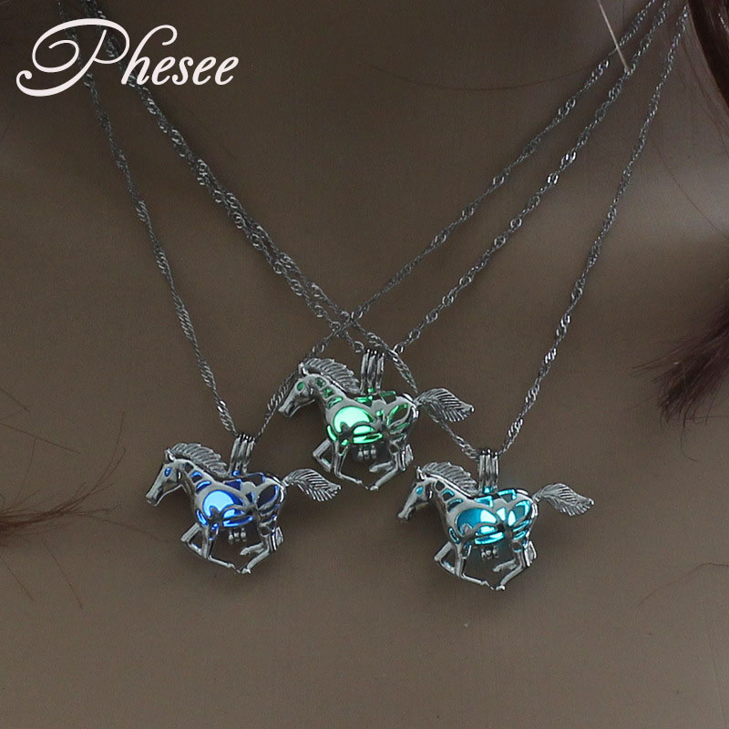 Phesee Fashion Luminous Horse Pendant Necklaces Hollow Out Pendant Glow in the Dark Necklace Jewelry Gift