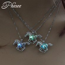 Phesee Fashion Luminous Horse Pendant Necklaces Hollow Out Pendant Glow in the Dark Necklace Jewelry Gift for Women and Men