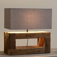 New Chinese Elm Retro Pastoral Handmade Led E27 Table Lamp For Hotel Living Room Bedroom Deco Lights H 55cm 1803